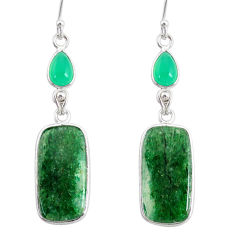 19.79cts natural green moss agate chalcedony 925 silver dangle earrings r86772