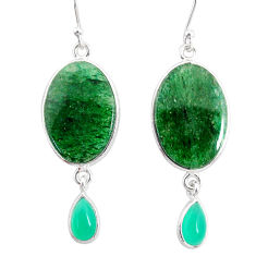 18.57cts natural green moss agate chalcedony 925 silver dangle earrings r86774