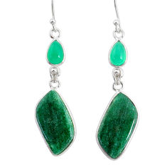 17.90cts natural green moss agate chalcedony 925 silver dangle earrings r86775