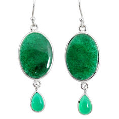 19.79cts natural green moss agate chalcedony 925 silver dangle earrings r86776