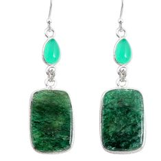 21.01cts natural green moss agate chalcedony 925 silver dangle earrings r86778