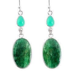 20.95cts natural green moss agate chalcedony 925 silver dangle earrings r86779