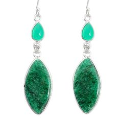 20.10cts natural green moss agate chalcedony 925 silver dangle earrings r86891