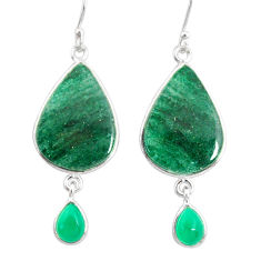 18.57cts natural green moss agate chalcedony 925 silver dangle earrings r86892