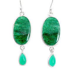17.82cts natural green moss agate chalcedony 925 silver dangle earrings r86893