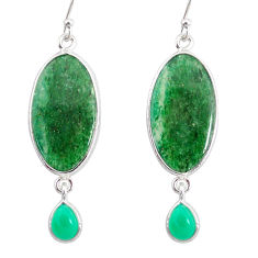 17.85cts natural green moss agate chalcedony 925 silver dangle earrings r86895