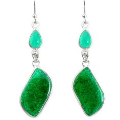 15.46cts natural green moss agate chalcedony 925 silver dangle earrings r86896