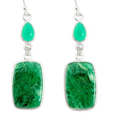 17.85cts natural green moss agate chalcedony 925 silver dangle earrings r86898
