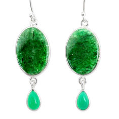 17.43cts natural green moss agate chalcedony 925 silver dangle earrings r86899