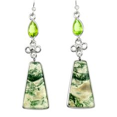17.66cts natural green moss agate peridot 925 silver dangle earrings d47541