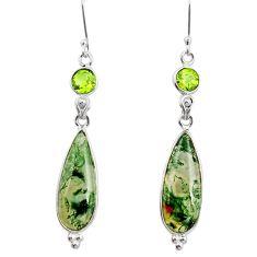 5.75cts natural green moss agate peridot 925 silver dangle earrings r26600