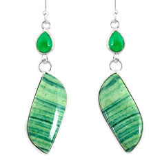 20.74cts natural green opal chalcedony 925 silver dangle earrings jewelry r86850