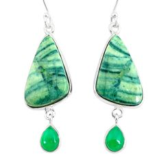 18.85cts natural green opal chalcedony 925 silver dangle earrings jewelry r86851