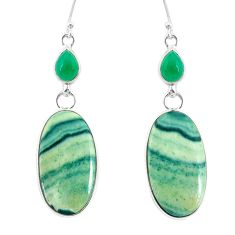 22.05cts natural green opal chalcedony 925 silver dangle earrings r86821