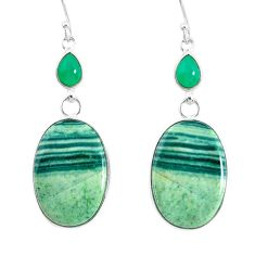 23.23cts natural green opal chalcedony 925 silver dangle earrings r86822