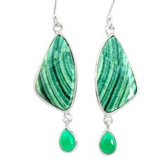 17.35cts natural green opal chalcedony 925 silver dangle earrings r86823