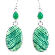 22.50cts natural green opal chalcedony 925 silver dangle earrings r86828