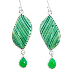 21.34cts natural green opal chalcedony 925 silver dangle earrings r86832