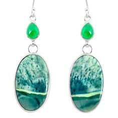21.41cts natural green opal chalcedony 925 silver dangle earrings r86833
