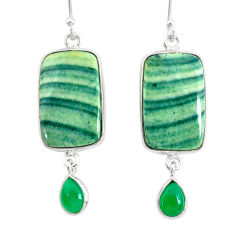 20.70cts natural green opal chalcedony 925 silver dangle earrings r86835