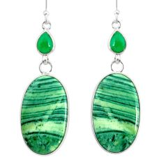 25.25cts natural green opal chalcedony 925 silver dangle earrings r86837