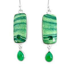 19.49cts natural green opal chalcedony 925 silver dangle earrings r86849
