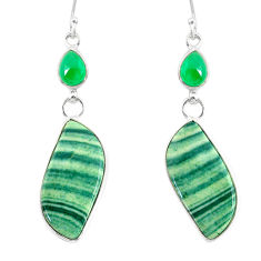 20.74cts natural green opal chalcedony 925 silver dangle earrings r86852