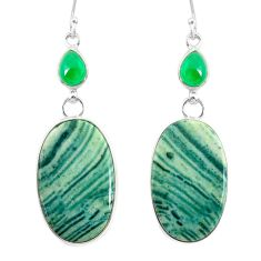 24.61cts natural green opal chalcedony 925 silver dangle earrings r86853