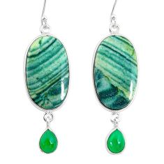 20.77cts natural green opal chalcedony 925 silver dangle earrings r86855