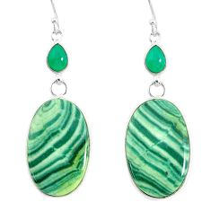 26.53cts natural green opal chalcedony 925 silver dangle earrings r86858