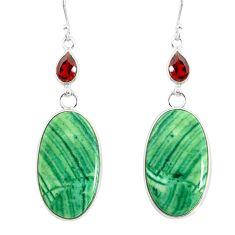 25.25cts natural green opal garnet 925 sterling silver dangle earrings r86839