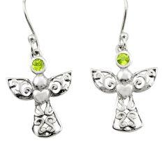 0.99cts natural green peridot 925 silver dangle birds charm earrings r25961