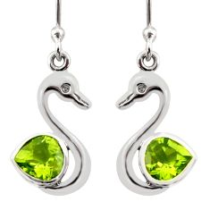 2.93cts natural green peridot 925 silver dangle duck charm earrings d40070