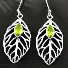 5.32cts natural green peridot 925 silver deltoid leaf earrings jewelry d40016