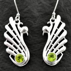 2.01cts natural green peridot 925 sterling silver dangle earrings jewelry d39991