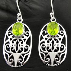 Clearance Sale- 6.56cts natural green peridot 925 sterling silver dangle earrings jewelry d40036