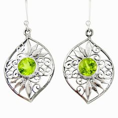 5.31cts natural green peridot 925 sterling silver dangle earrings jewelry d40095