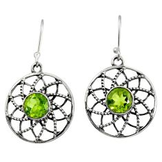 Clearance Sale- 4.51cts natural green peridot 925 sterling silver dangle earrings jewelry d40138