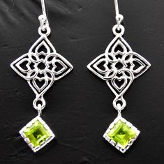 3.13cts natural green peridot 925 sterling silver dangle earrings jewelry d40174