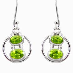 5.45cts natural green peridot 925 sterling silver dangle earrings jewelry d45783