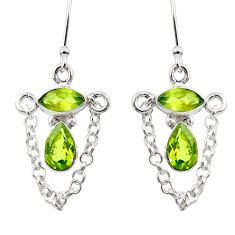6.39cts natural green peridot 925 sterling silver dangle earrings jewelry d45790