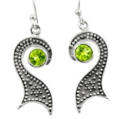 2.33cts natural green peridot 925 sterling silver dangle earrings jewelry d46810