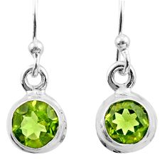 2.44cts natural green peridot 925 sterling silver dangle earrings jewelry r26723