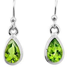 3.62cts natural green peridot 925 sterling silver dangle earrings jewelry r26725