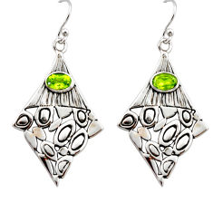 3.44cts natural green peridot 925 sterling silver dangle earrings jewelry r32941