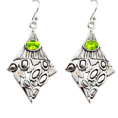 3.31cts natural green peridot 925 sterling silver dangle earrings jewelry r32946