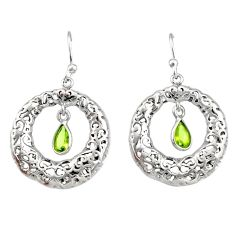 2.23cts natural green peridot 925 sterling silver dangle earrings jewelry r33023