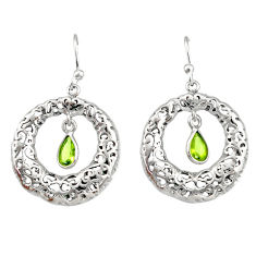 2.23cts natural green peridot 925 sterling silver dangle earrings jewelry r33027