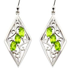 6.26cts natural green peridot 925 sterling silver dangle earrings jewelry r36682