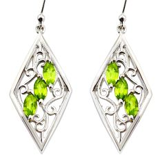 6.22cts natural green peridot 925 sterling silver dangle earrings jewelry r36686